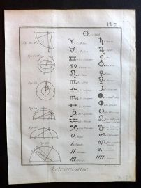 Diderot C1785 Antique Print. Astronomie 07 Astronomy Astrology Signs